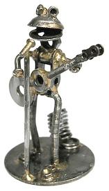 Frog Guitarist Junkyard Critter made by artisans in India  Measures 3-1/2 high x 3-1/4 wide x 2-1/2 deep