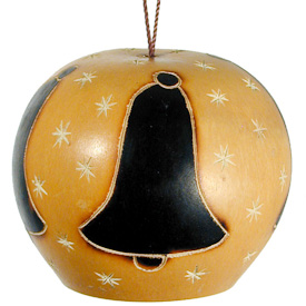 "Bell Gourd Ornament w/ Stars from Peru Measures 1-3/4"" high x 2-1/4"" diameter"