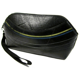 Small Recycled Tire Tube Bag w/ Wrist Strap <br width=275 >Measures: 9.5 wide x 4.5 high x 2 deep