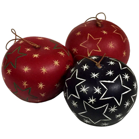"Assorted Color Gourd Ornaments with Large Stars  Crafted by Artisans in Peru  Measure 1-3/4"" high x 2-1/4"" diameter"