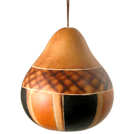"Pear Shaped Pinwheel Gourd Ornament from Peru  Measures 2-3/4"" high x 2-1/2"" diameter"