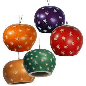 "Assorted Color Gourd Ornaments w/ Small Stars from Peru  Measure 1-3/4"" high x 2-1/4"" diameter"