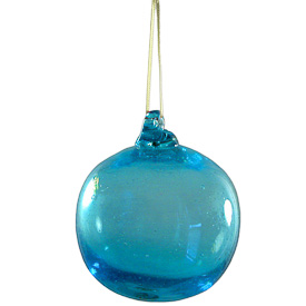 "Recycled Blue Glass Ball Ornament  Hand-Blown by Artisans in Guatemala  Measures 3"" in diameter"