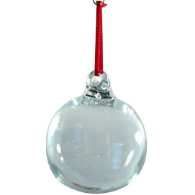 "Recycled Clear Glass Ball Ornament  Hand-Blown by Artisans in Guatemala  Measures 3"" in diameter"