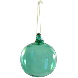 "Green Glass Ball Ornament  Hand-Blown by Artisans in Guatemala  Measures 3"" in diameter"