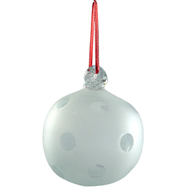 "Clear Glass Ball Ornament, sandblasted with circles  Hand-Blown by Artisans in Guatemala  Measures 3"" in diameter"