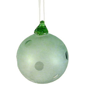 """Green Glass Ball Ornament, sandblasted with circles  Hand-Blown by Artisans in Guatemala  Measures 3"""" in diameter"""