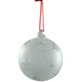 "Clear Glass Ball Ornament, sandblasted with stars  Hand-Blown by Artisans in Guatemala  Measures 3"" in diameter"
