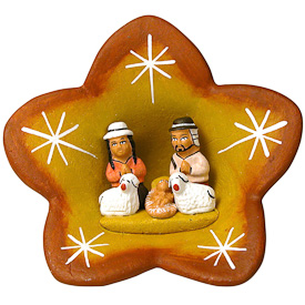 "Flower Ceramic Nativity  Crafted by Artisans in Peru  Measures 3-1/2"" high x 3-1/2"" wide x 1-1/2"" deep"