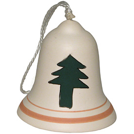 "Ceramic Bell with Tree Ornament  Crafted by Artisans in Bolivia  Measures 2"" high x 1-3/4"" diameter"
