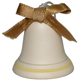 "Ceramic Bell with Gold Ribbon Ornament Crafted by Artisans in Bolivia  Measures 2"" high x 1-3/4"" diameter"