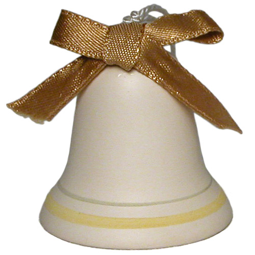"0bdd579661c Ceramic Bell with Gold Ribbon Ornament Crafted by Artisans in Bolivia  Measures 2"" high x 1-3/4"" diameter"