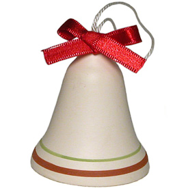"Ceramic Bell with Red Ribbon Ornament  Crafted by Artisans in Bolivia  Measures 2"" high x 1-3/4"" diameter"
