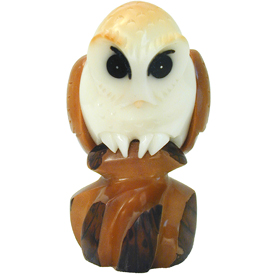 Tagua Barn Owl Figurine Carved by Artisans of Ecuador - Front View   Measures: 2-3/4 high x 1-1/2 wide x 1-1/4 deep