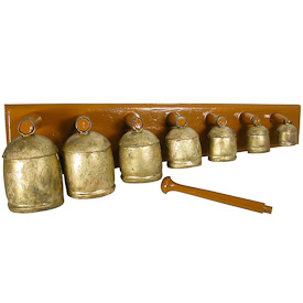"Bell Xylophone Musical Instrument  Crafted by Artisans in India  Measures 6"" high x 26-1/2"" wide x 7-1/2"" deep"