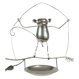 """Monkey Bird Feeder  Crafted by Artisans in India  Measures 16"""" high x 16-1/2"""" wide, with 7-1/2"""" seed dish"""