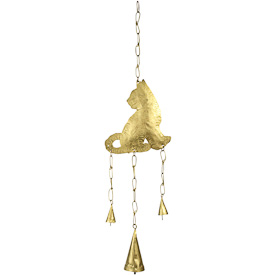 """Metal Cat Chime  Crafted by Artisans in India  Hangs 23-1/2"""" tall with 6-1/2"""" high x 5-3/4"""" wide cat"""
