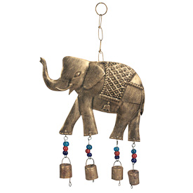 """Metal Elephant Chime  Crafted by Artisans in India  Hangs 15-1/2"""" tall with 6-1/4"""" high x 9"""" wide elephant"""