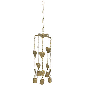 "Metal Heart Chime  Crafted by Artisans in India  Hangs 19"" tall, with 3-3/4"" diameter top"