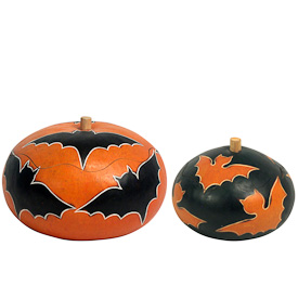 "Large and Small Bat Gourd Boxes crafted by Artisans in Peru  Large measures 3-1/2"" high x 5"" diameter  Small measures 3"" high x 3-1/2"" diameter"