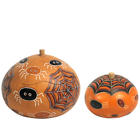 "Large and Small Spider Halloween Gourd Boxes from Peru  Large measures 3-1/2"" high x 5"" diameter  Small measures 3"" high x 3-1/2"" diameter"