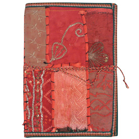 "Large Earth Tone Sari Journal Crafted by Artisans in India  Measures 9"" high x 6-1/4"" wide, with 100 pages"