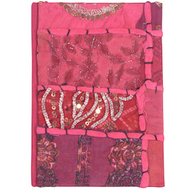 """Small Pink Sari Journal Crafted by Artisans in India  Measures 7"""" high x 5"""" wide, with 100 pages"""