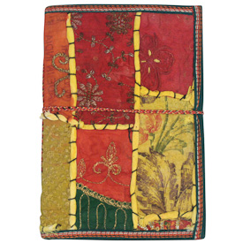 """Large Yellow Sari Journal  Crafted by Artisans in India  Measures 9"""" high x 6-1/4"""" wide, with 100 pages"""