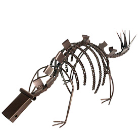 """Recycled Metal Dinosaur  Crafted by Artisans in India  Measures 8"""" high x 21"""" wide x 7-3/4"""" deep"""