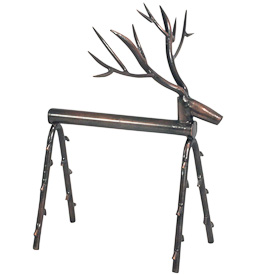 "Metal Reindeer Sculpture made from Junkyard Scraps Crafted by Artisans in India  Stands 8"" high x 6"" long x 7 wide at antlers"