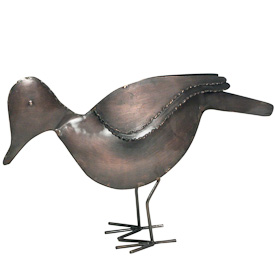"Recycled Metal Bird  Crafted by Artisans in India  Measures 6-1/2"" high x 10-1/4"" wide x 1-3/4"" deep"