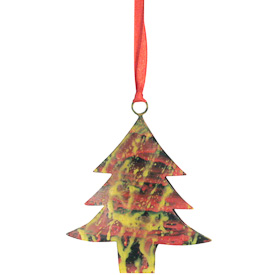 "Recycled Metal Christmas Tree Ornaments  Crafted by Artisans in India   Measures 4"" high  x 3-3/4 wide x 1/2 deep"
