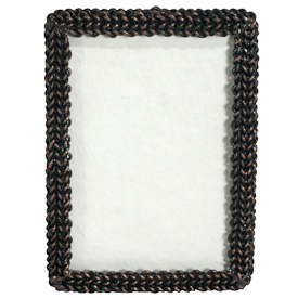 "Woven Chain Rectangular Photo Frame  Crafted by Artisans in India  Measures 7-3/4"" high, with an easel back"