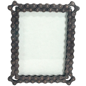 "Upcycled Bicycle Chain Rectangular Photo Frame  Crafted by Artisans in India  Measures 7"" high, with an easel back"