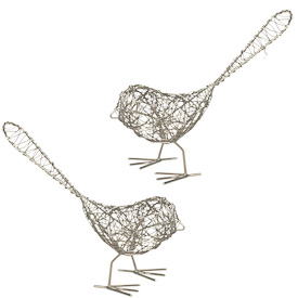 "Set of 2 Wire Birds  Crafted by Artisans in India  Each measures 6-1/4"" high x 6-3/4"" wide x 2-1/2"" deep"