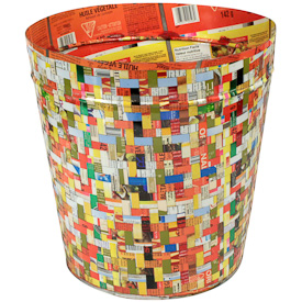 "Upcycled Metal Wastebasket  Crafted by Artisans in India  Measures 11-1/2"" high x 11-1/4"" top diameter"