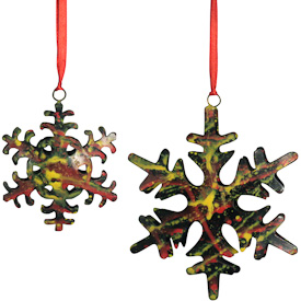 "Recycled Metal Snowflake Ornaments  Crafted by Artisans in India  Small - 4-1/4"" high x 3-1/2"" wide x 3/4 deep Large - 6"" high x 5-1/4"" wide x 1 deep"