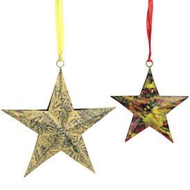 """Recycled Metal 5 Point Star Ornaments  Crafted by Artisans in India  Large Yellow - 6-1/4"""" high x 6-1/4"""" wide x 1 1/2 deep Small Yellow & Red - 4-1/4"""" high x 4-1/4"""" wide x 3/4 deep"""