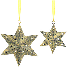 "Recycled Metal 6 Point Star Ornaments  Crafted by Artisans in India  Large - 6-1/2"" high x 5-1/4"" wide x 1-1/2"" deep Small - 4"" high x 3-1/2"" wide x 1"" deep"