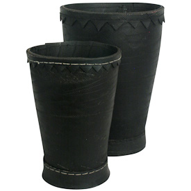 "Recycled Tire Planter Pots  Crafted by Artisans in India   Large measures 11-1/4"" high   Small measures 9-1/4"" high"