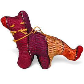 "Cat Ornament Crafted by Artisans in Guatemala  Measures 2-1/2"" high x 1-1/4"" wide x 3-1/4"" long"