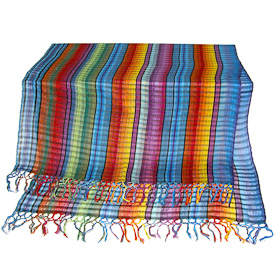 """Rainbow Woven Cotton Shawl  Crafted by Artisans in Guatemala  Measures 72"""" long x 24"""" wide"""