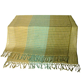 """Sea Foam Woven Cotton Shawl  Crafted by Artisans in Guatemala  Measures 72"""" long x 24"""" wide"""