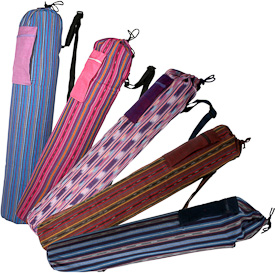 "Woven Cotton Yoga Bags  Crafted by Artisans in Guatemala  Measure about 27"" long x 4-1/2"" diameter"