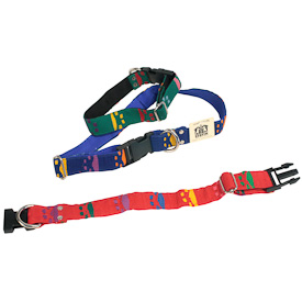 "Cotton Dog Collars  Crafted by Artisans in Guatemala  Large measures 1"" wide with a 13""-24"" adjustable length  Small measures 1"" wide with an 8""-13"" adjustable length"