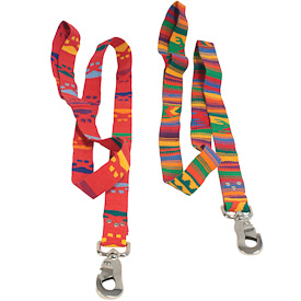 "Red and Rainbow Cotton Dog Leashes  Crafted by Artisans in Guatemala  Measure 1"" wide with a 48"" length"