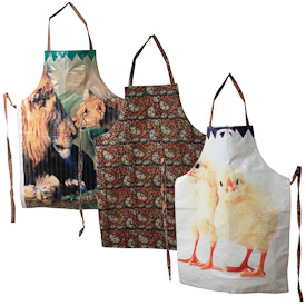 """Assorted Animal Print Aprons  Crafted by Artisans in India  Each measures about 35"""" high x 25-1/2"""" wide, with a kalamkari backing"""