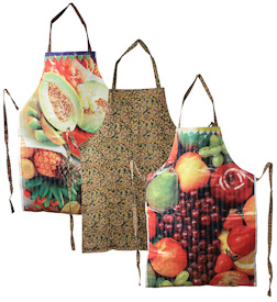 "Assorted Food Print Aprons  Crafted by Artisans in India  Each measures about 35"" high x 25-1/2"" wide, with a kalamkari backing"