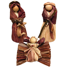 """Corn Husk 3-piece Nativity  Crafted by Artisans in Colombia  Measures 5"""" high"""