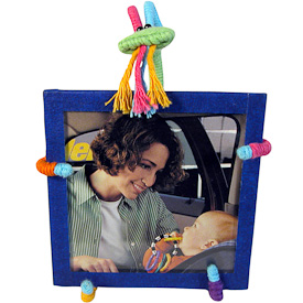 """Goat Cotton and String Doodad Picture Frames  Crafted by Artisans in Colombia  Measure 5-1/2"""" high x 4-1/4"""" wide x 4"""" deep  with 3-1/4"""" x 3-1/4"""" image space"""